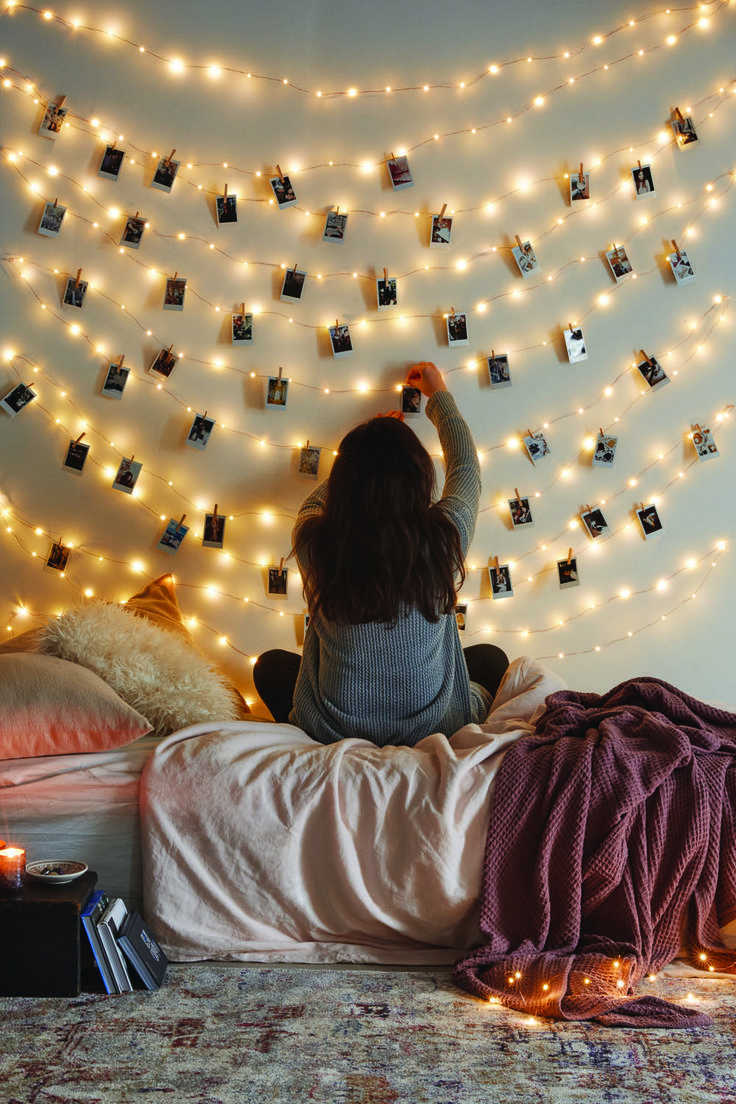 Not Sure How To Stick The Lights To The Wall 🤔 But Would Work Somehow. And  Would Look Cute With Pictures Cut Into Smaller Pieces To Look Like Polaroids