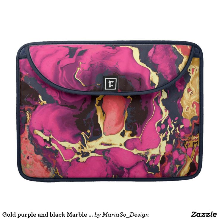 Gold purple and black Marble acrylic paint art Sleeve For MacBooks