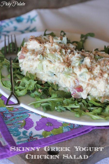 Skinny Greek Yogurt Chicken Salad, tastes just like the real deal!