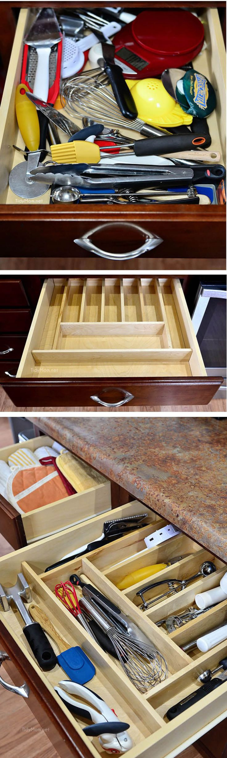Get organized in 2016! See how @tidymom tamed her kitchen utensil drawer with @masterbrandinc. #CupboardConfessions