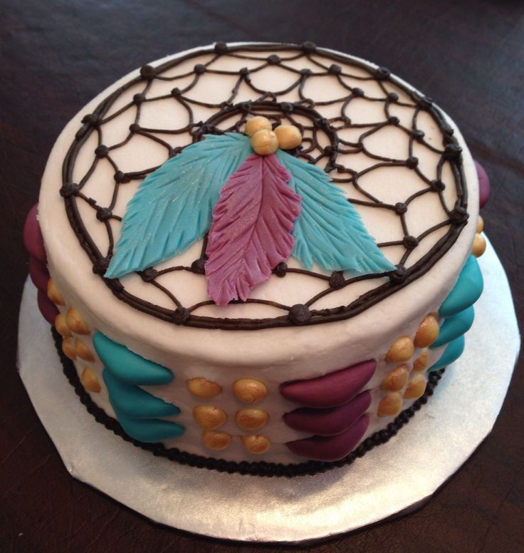 Dream catcher cake #boho #cake #dreamcatcher #teal #purple #feathers
