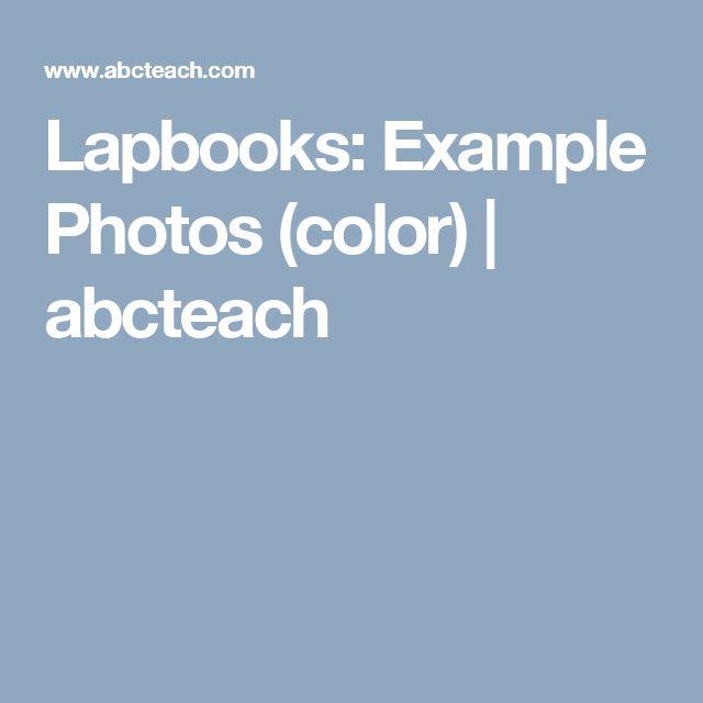 Lapbooks: Example Photos (color) | abcteach