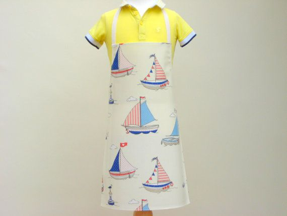 Toddler's Pvc Apron  Boats & Seagulls Oilcloth by OneLeggedGoose