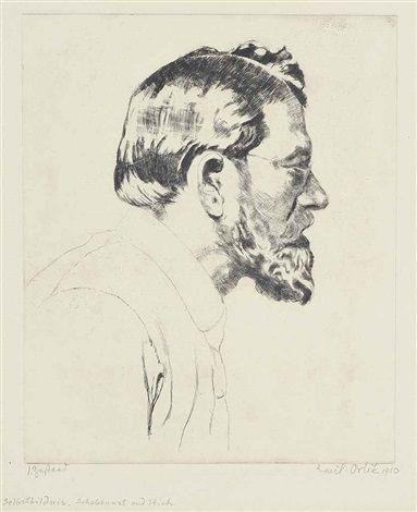 Self Portrait; Frau Beytag; Konrad Ansorage; Max Reinhardt (4 works) by Emil Orlik