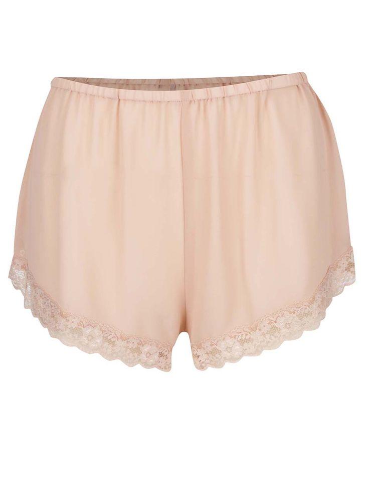 Pantaloni scurți roz Y.A.S Chiffon cu detalii din dantelă și croi lejer