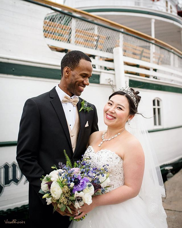 Married on a ship in Muskoka- a perfect Canadian wedding for these two. Both Lenford and Ella were born in other countries but now Canada is their home.