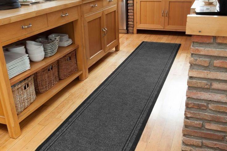 Grey Black Kitchen Runner Rug