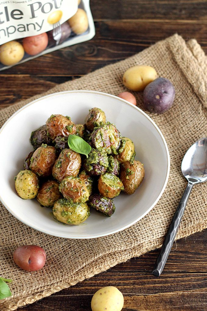 Easy Vegan Pesto Potatoes - ilovevegan.com