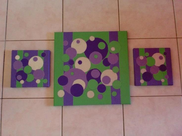 Tableau peint en acrylique vert anis et violet et argent,tableau en 3 parties.