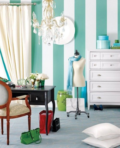 tiffanys blue and white stripes for a dressing room. chic