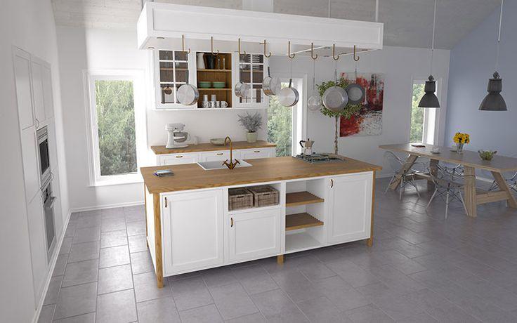 Til den designbevidste tradionalist Heartford Køkkenet tager udgangspunkt i den traditionelle Shaker tradition med forramme og fyldningsdøre med paneler eller glas i massiv træ. kan fås malet eller oliebehandlet afhænging af ens ønsker. her forener vi moderne køkken tænkning med med det mere traditionelle. Fronter og paneler er håndmalede med detaljer og bordplade i massiv egetræ. det moderne præg kommer bla til udtryk med de åbne elementer og indbyggede skabe. Her ses køkkenet med…