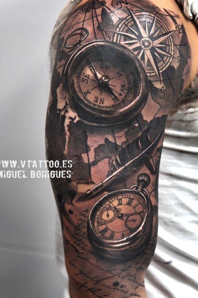 map tattoo compass