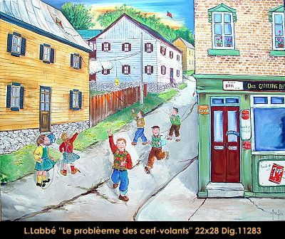 Original oil on canvas painting by Lise Labbé #labbe #art #artnaif #fineart #figurativeart #kidscharacters #summer #kites #canadianartist #quebecartist #originalpainting #oilpainting #balcondart #multiartltee