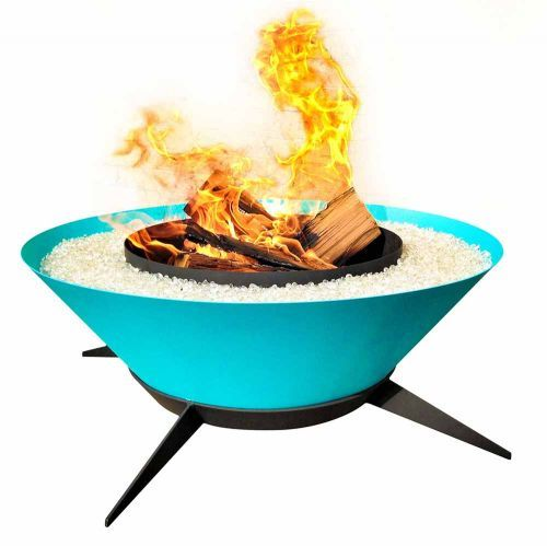 The starburst shaped 'Astrofire' is reminiscent of footed midcentury planters, with its boldly colored bowl sitting atop a platform of slanted legs.  Read more: Modfire - midcentury modern style fire pits hand made in the USA - Retro Renovation