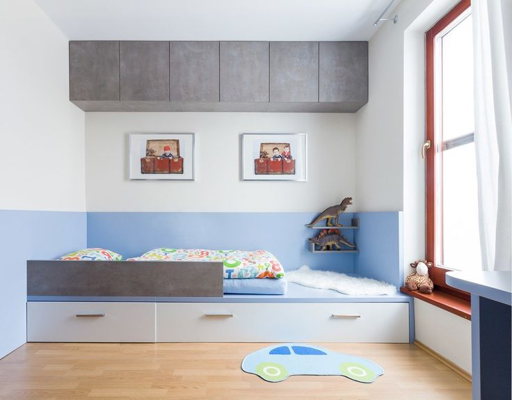 Bright Ikea Toddler Bed trend Other Metro Contemporary Kids Remodeling ideas with area rug artwork Boy's Room built-in bed dinosaurs light blue red window casing sheepskin