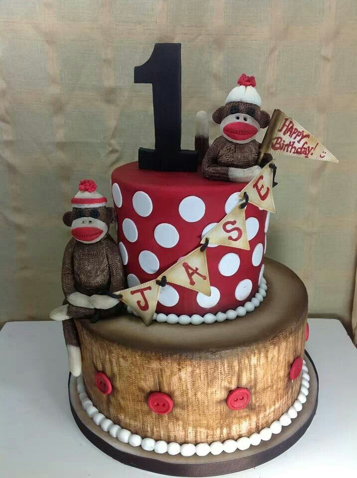 Sock monkey cake @robbinly can you do the bottom part of this cake? OMG I LOVE IT.