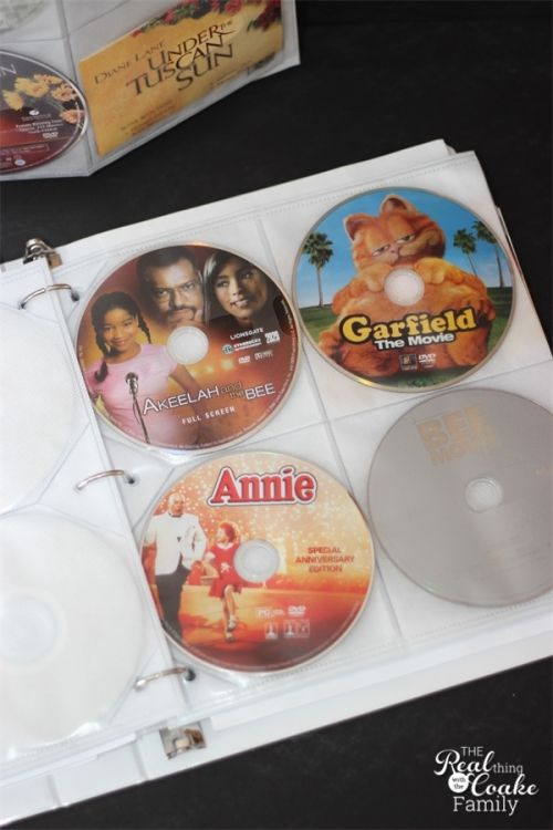 Organizing Tips on how to organize movies and save tons of space. Perfect for small spaces.