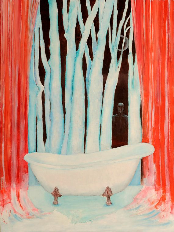 Surreal painting Bath of Dreams with Forest by TanabeStudio