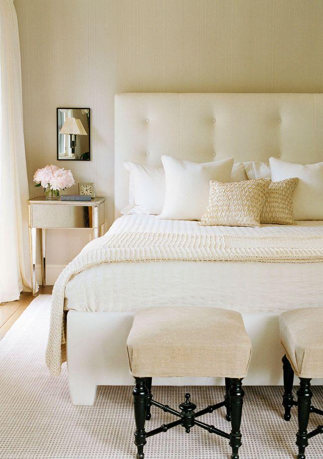 Neutral bedroom by interior designer will wick via lonny mag