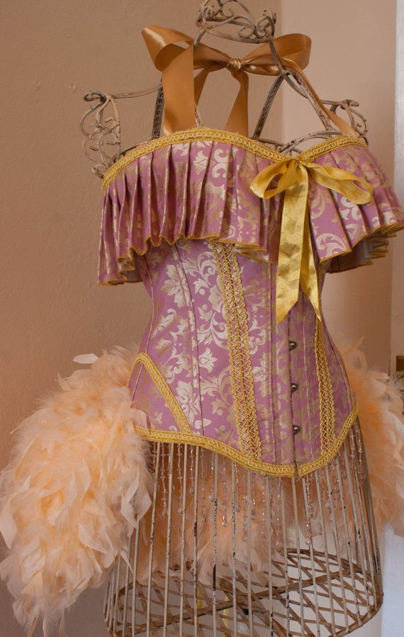 ELIZABETH Burlesque Corset Costume pink gold dress by olgaitaly, $150.00