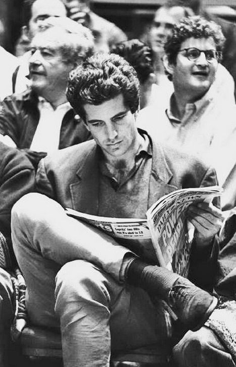 John F. Kennedy Jr. peruses the Daily News during a quiet moment at a New York Knicks game in Madison Square Garden, 5/1/94.  (Photo Keith Torrie/NY Daily News Archive via Getty Images)