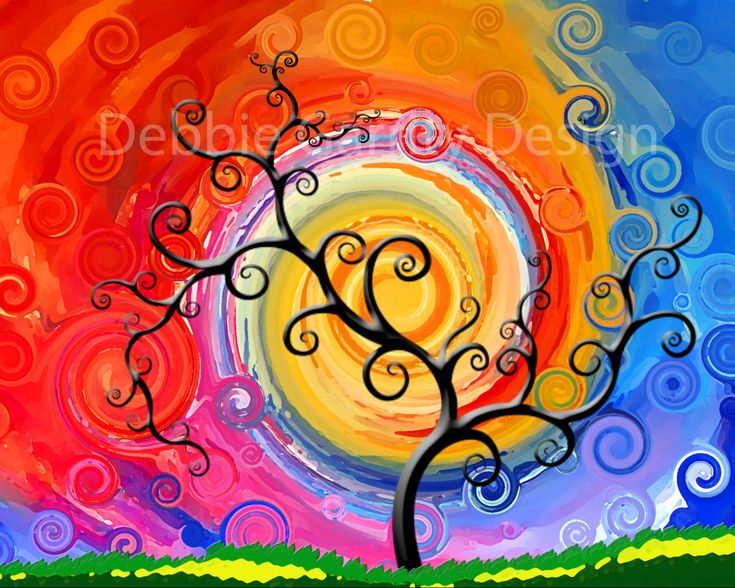 Swirly tree art print 8 by 10 bright colors. $10.00, via Etsy.