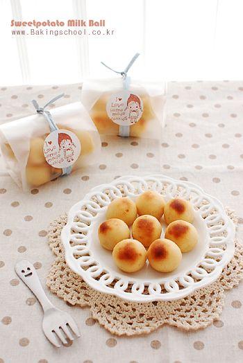 고구마밀크볼  Easy bite! Sweet potato milk ball  Just sweet potato+milk+white chocolate Then roll it and bake