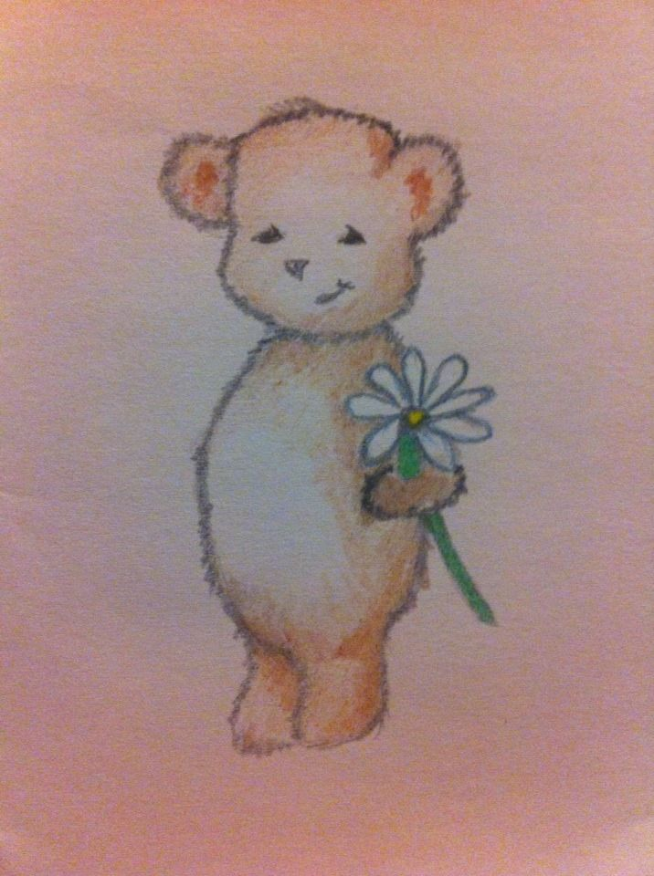 bear with flower art draw sketch pencil color