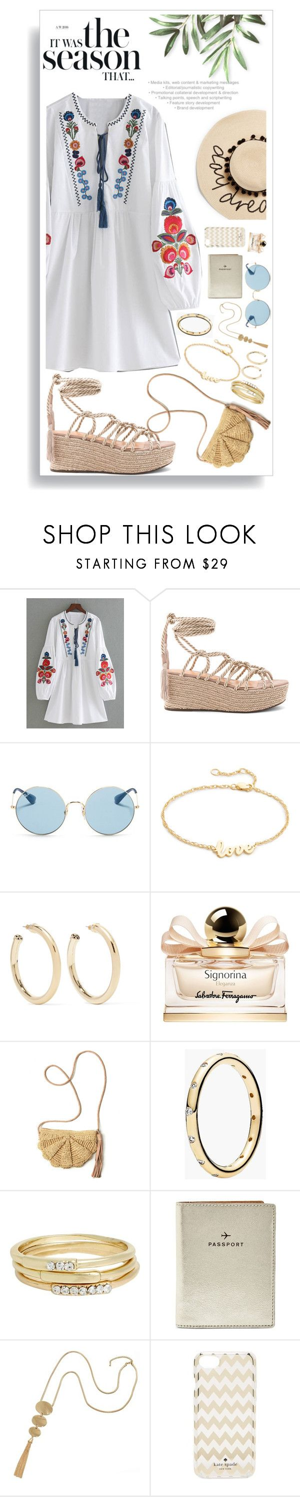 """""""Untitled #1512"""" by style-and-chic-boutique ❤ liked on Polyvore featuring Schutz, Ray-Ban, Jennifer Zeuner, Kenneth Jay Lane, Salvatore Ferragamo, Mar y Sol, Pandora, Jules Smith, FOSSIL and Kate Spade"""