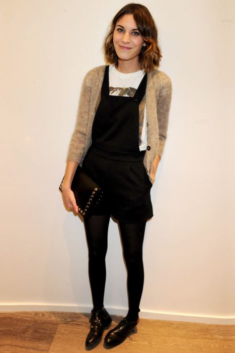 Alexa Chung. overalls. tights. sweater.