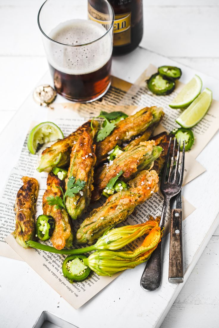 beer battered jalapeño cashew stuffed squash blossoms.