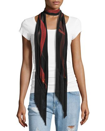 Snakes+Classic+Skinny+Fringe+Silk+Scarf,+Red+by+Rockins+at+Neiman+Marcus.