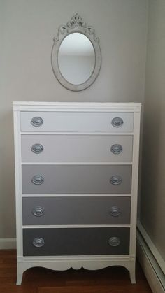 Hydrangeas and Harmony: Gray Ombre Dresser