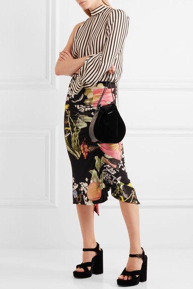Preen by Thornton Bregazzi - Lennox Ruched Floral-print Stretch-crepe Midi Skirt - Black - x large