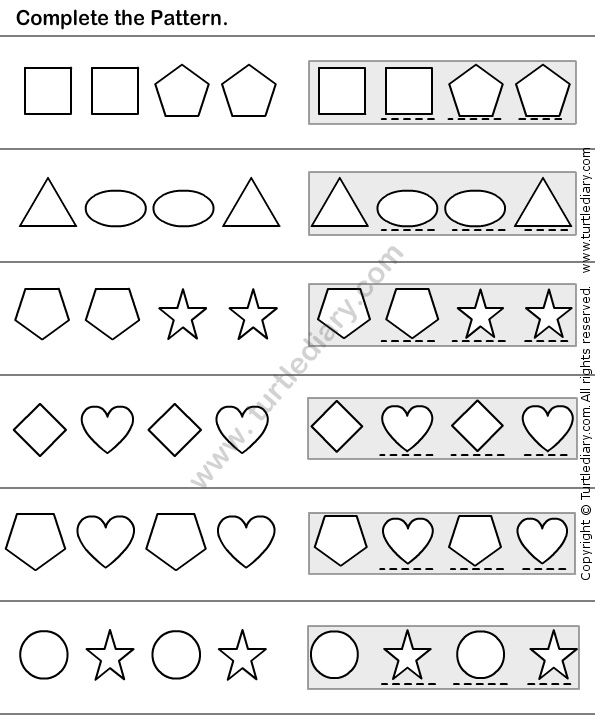 Patterning Worksheet. Common Worksheets Patterning Worksheets ...
