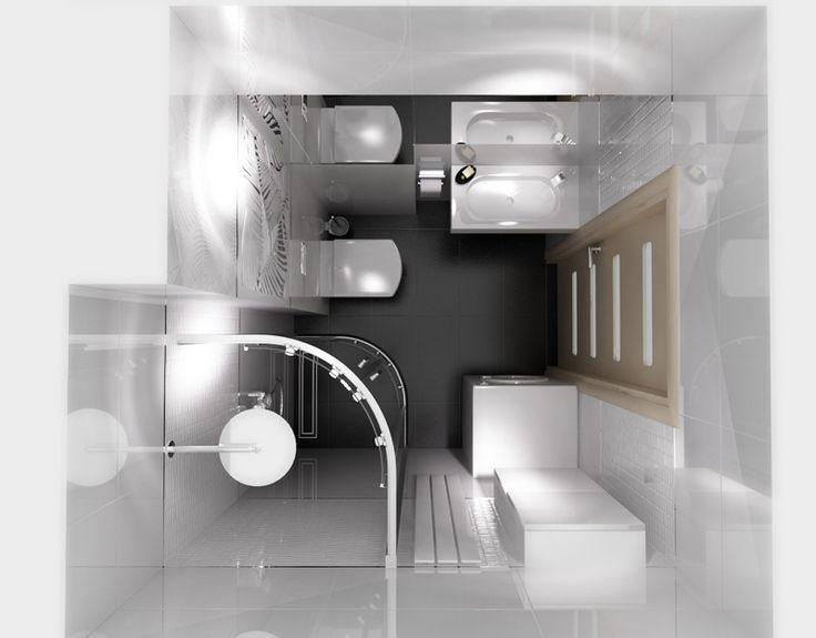 B&W.  Mała łazienka w bieli