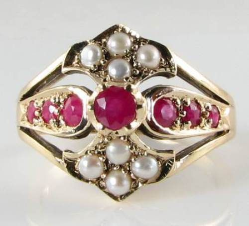 CLASS-HUGE-DECO-INS-9K-GOLD-RICH-RUBY-amp-PEARL-CREST-RING