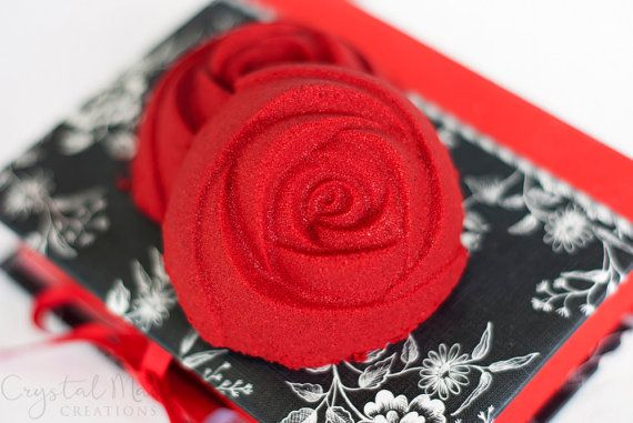 Red Rose Red Bath Bomb - Red Bath - Rose Absolute Essential Oil
