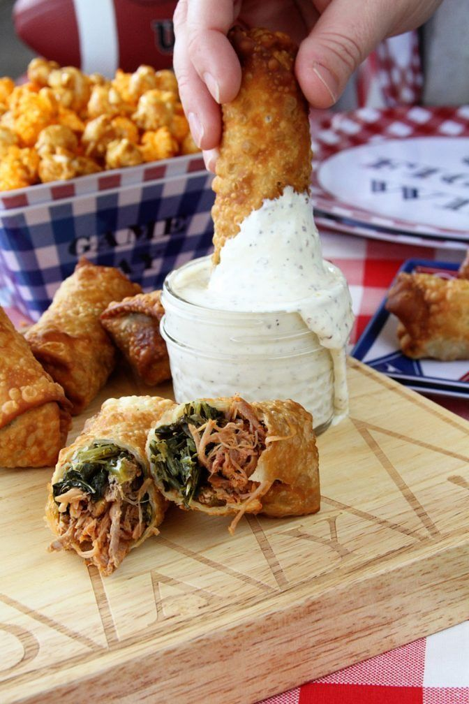 These Pulled Pork and Collard Green Egg Rolls with Alabama White BBQ Dipping…