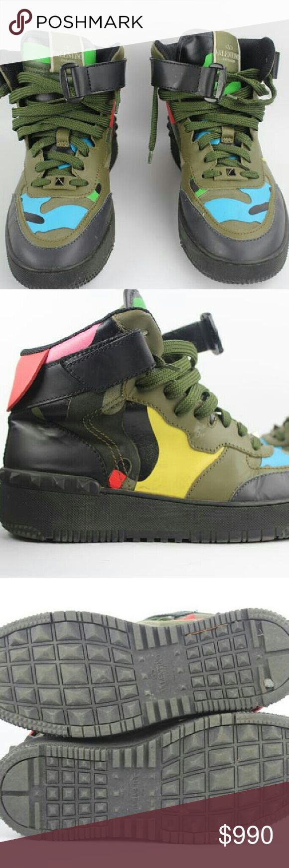 Rock Be Multi-color Sneakers Sz 40 Camouflage Valentino Rock Be Multi-color Camouflage High Top Sneakers Sz 40 (Women's 9.5 Men's) This item will ship immediately!! Previously owned. Made In: Italy Size: 40 (Women's 9.5 Men's 7) Signs of Wear: mild creases from wear throughout both pairs. Light scuffs on leather uppers. Soles display mild scuffs and scratches from wear. Minimal markings on leather uppers. Lights scuffs on insoles. Overall in lovely condition. Please review measurements and…