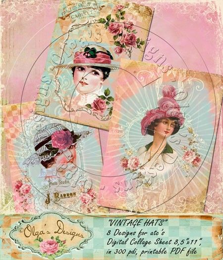New - Vintage Hats, 8 designs for atc's, Digital collage sheet, in 300 pdi, printable PDF file
