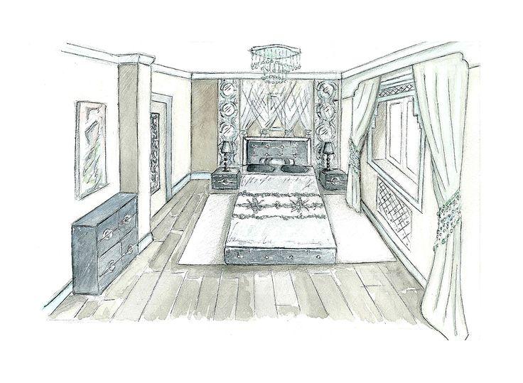 Эскиз. Спальня в голубых тонах. Восточный стиль