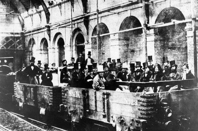 """The London Underground celebrates its 150th anniversary this week. The """"tube"""" made it's first journey from Paddington to Farringdon Street along the Metropolitan Line on 9 January 1863, and on it's first day the line transported an astounding 40,000 passengers (pictured). Today some 4 million journeys are made every day."""