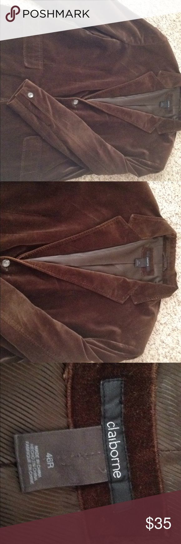 Claiborne Men sport jacket Brown velvet sport jacket. Pictures of small worn spots on collar and bottom of jacket, barely noticeable Claiborne Jackets & Coats Blazers
