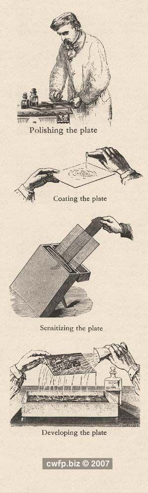 Frederick Scott Archer inventou em 1851 a emulsão de colódio húmida, método que viria substituir os processos utilizados pelo daguerreótipo e o calótipo.  O processo consistia em cobrir uma placa de vidro com o preparado e, na câmara escura, o colódio iodizado era imerso em banho de prata e formava iodeto de prata com excesso de nitrato. Ainda úmida, a placa era exposta à luz na câmara, revelada por imersão em pirogalol com ácido acético e fixada com tiossulfato de sódio.