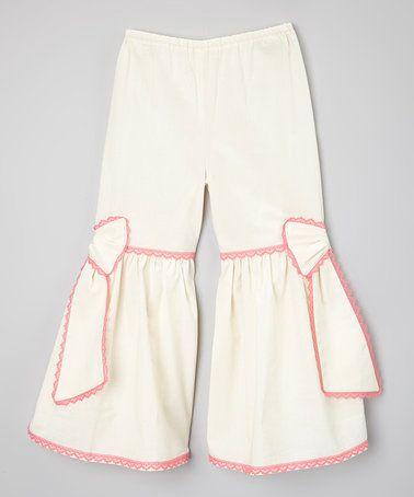 Ivory & Fuchsia Ruffle Pants - Infant, Toddler & Girls