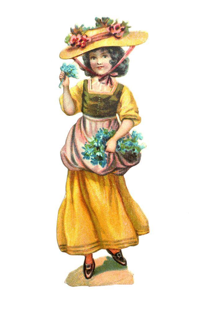 alte Oblaten /victorian die cut  ca. 1890 Frau mit Hut