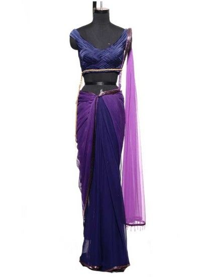 Navy and Violet Saree