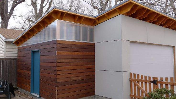 Great look with Ipe and HardiPlank siding and polygal clerestory windows