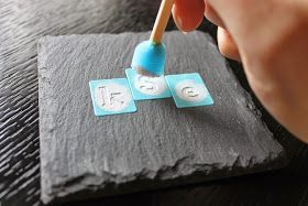 Paint Speckled Pawprints: Monogrammed Slate Coasters